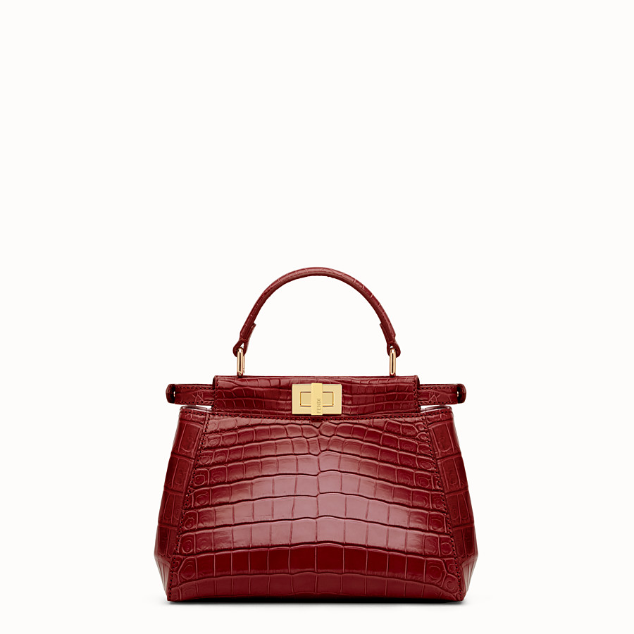 FENDI PEEKABOO MINI - Red crocodile leather handbag. - view 3 detail