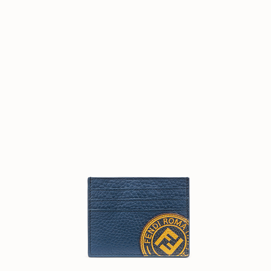 FENDI CARD HOLDER - Blue leather card holder - view 1 detail