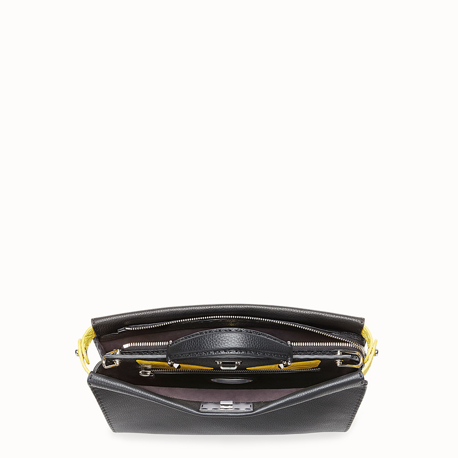 FENDI PEEKABOO FIT - Black Roman leather bag with exotic leather details - view 4 detail
