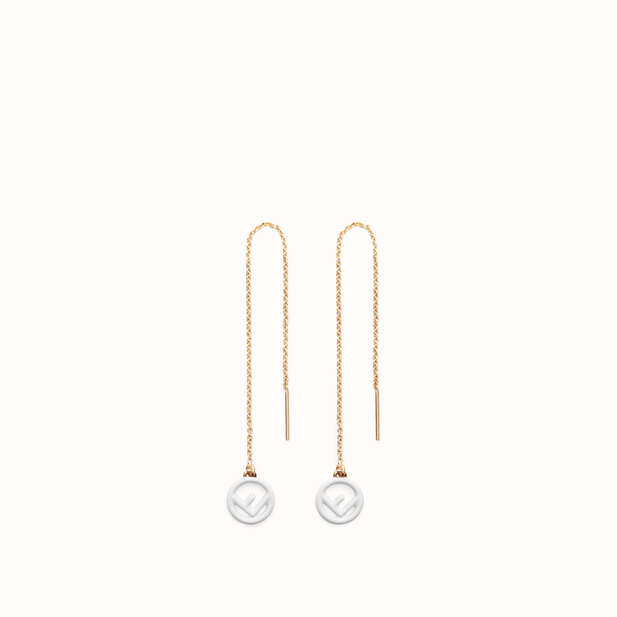 FENDI F IS FENDI EARRINGS - Gold and white coloured earrings - view 1 detail