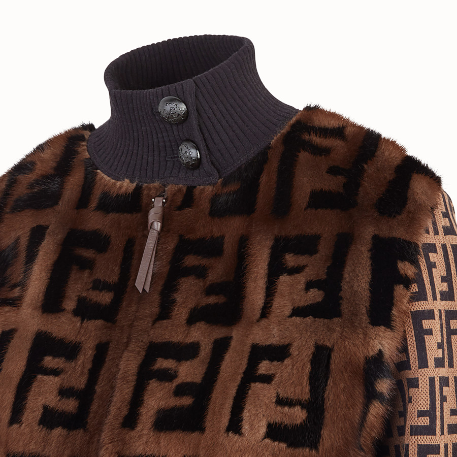 FENDI BOMBER - Inlaid mink and knitted fabric bomber - view 3 detail