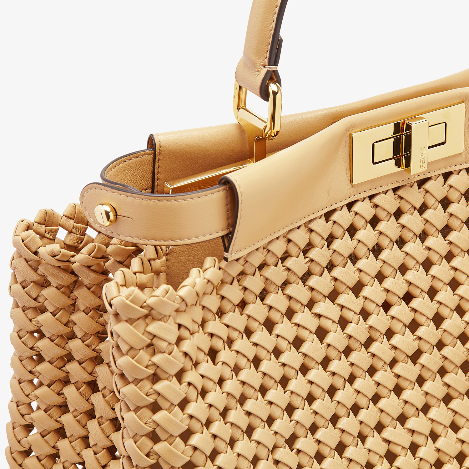 FENDI PEEKABOO ICONIC MEDIUM - Beige leather interlace bag - view 6 detail