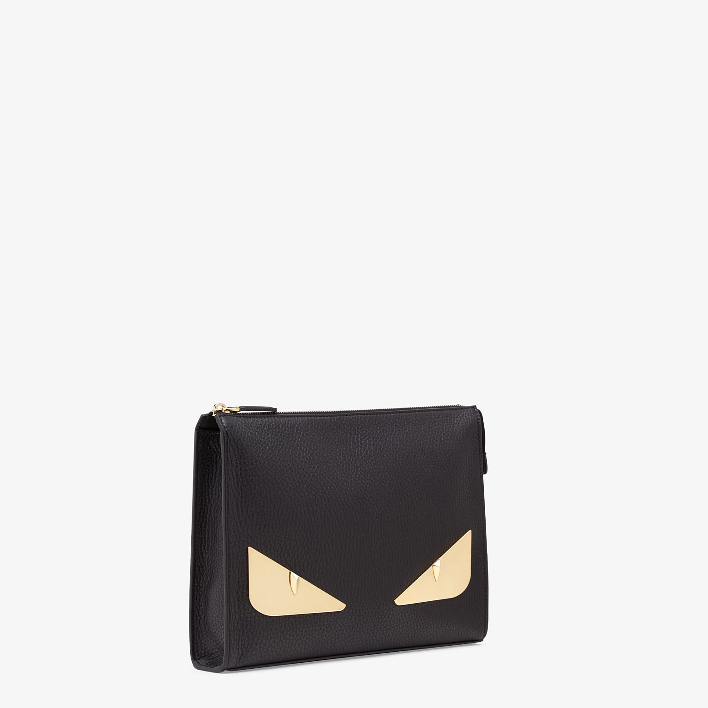 FENDI CLUTCH - Black Romano leather pochette - view 2 detail