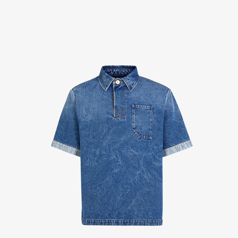 FENDI POLO SHIRT - Blue denim polo shirt - view 1 detail