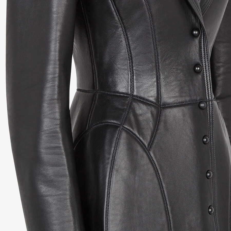 FENDI COAT - Black leather coat - view 3 detail