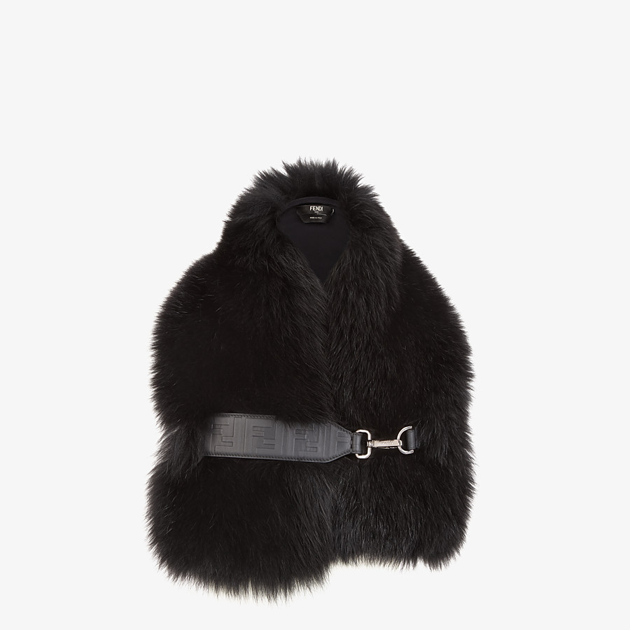 FENDI COLLAR - Black fox fur collar - view 1 detail