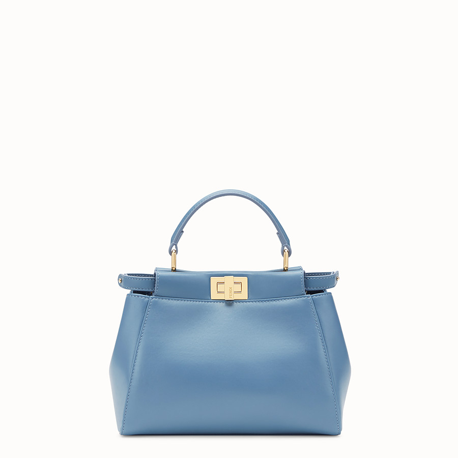 FENDI PEEKABOO ICONIC MINI - Pale blue nappa leather bag - view 1 detail