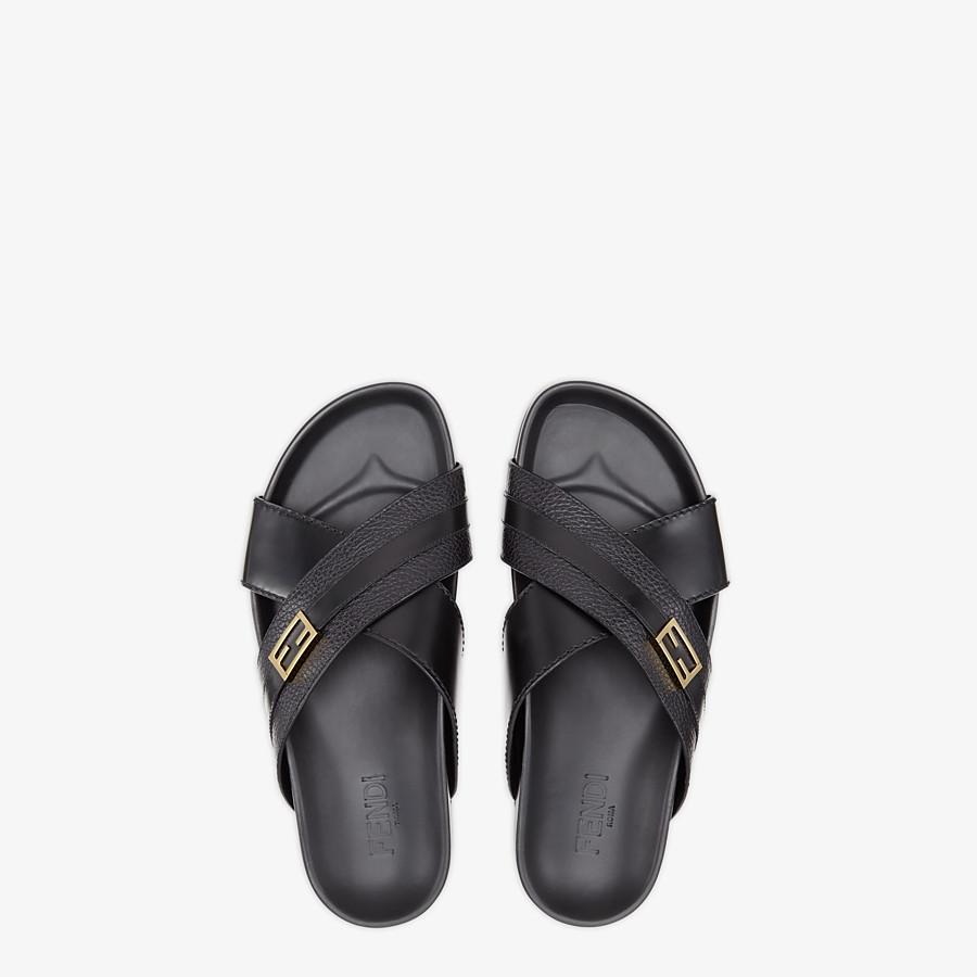 FENDI SANDALS - Black leather footbed - view 4 detail