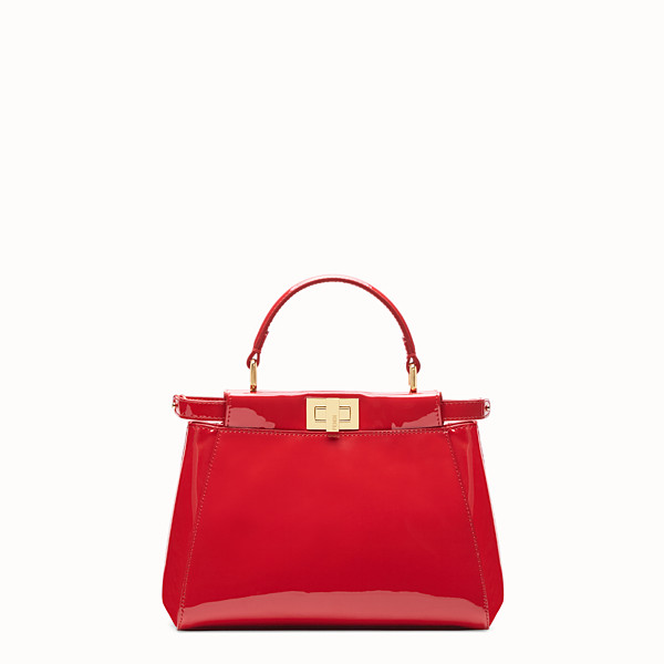 FENDI PEEKABOO ICONIC MINI - Sac en cuir verni rouge - view 1 small thumbnail