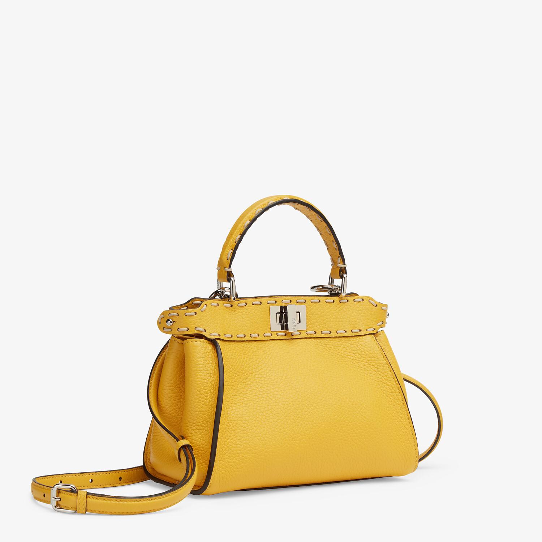 FENDI PEEKABOO ICONIC MINI - Yellow full grain leather bag - view 2 detail