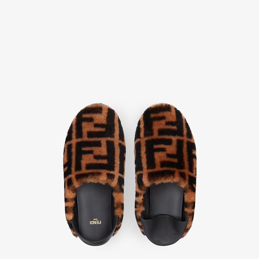 FENDI SLIPPERS - Brown sheepskin slippers - view 4 detail