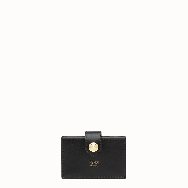 FENDI CARD HOLDER - Black leather gusseted card holder - view 1 small thumbnail