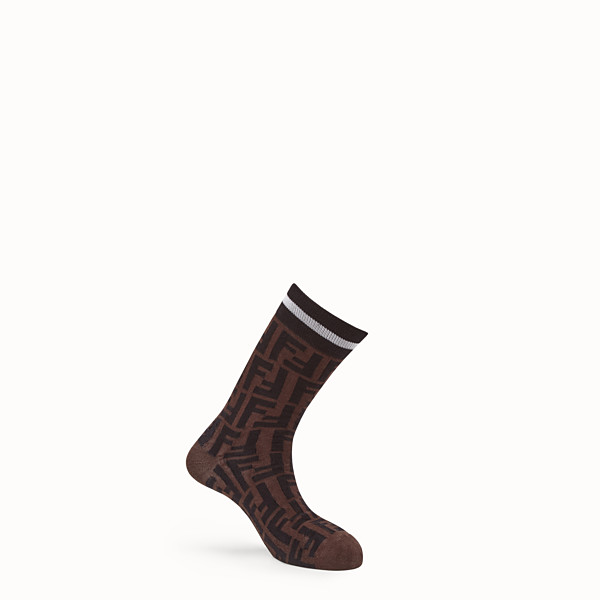 FENDI CHAUSSETTES - Chaussettes en coton stretch marron - view 1 small thumbnail