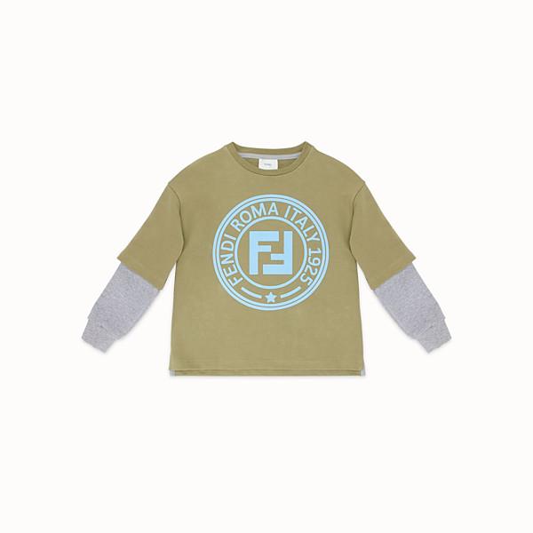 FENDI SWEAT-SHIRT EFFET DOUBLE - Khaki cotton sweatshirt - view 1 small thumbnail