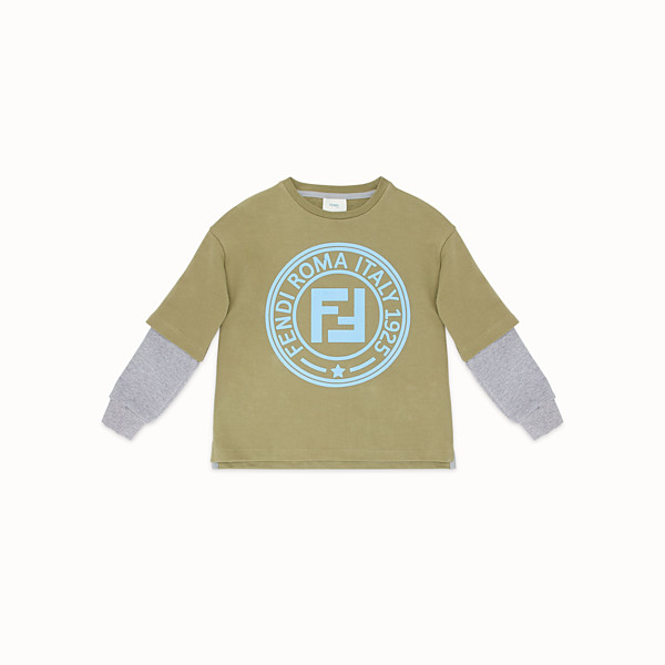 FENDI DOUBLE EFFECT SWEATSHIRT - Khaki cotton sweatshirt - view 1 small thumbnail