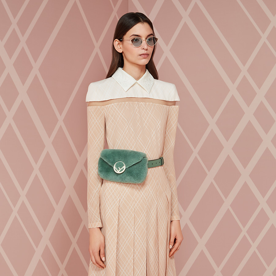 FENDI BELT BAG - Green sheepskin belt bag - view 4 detail