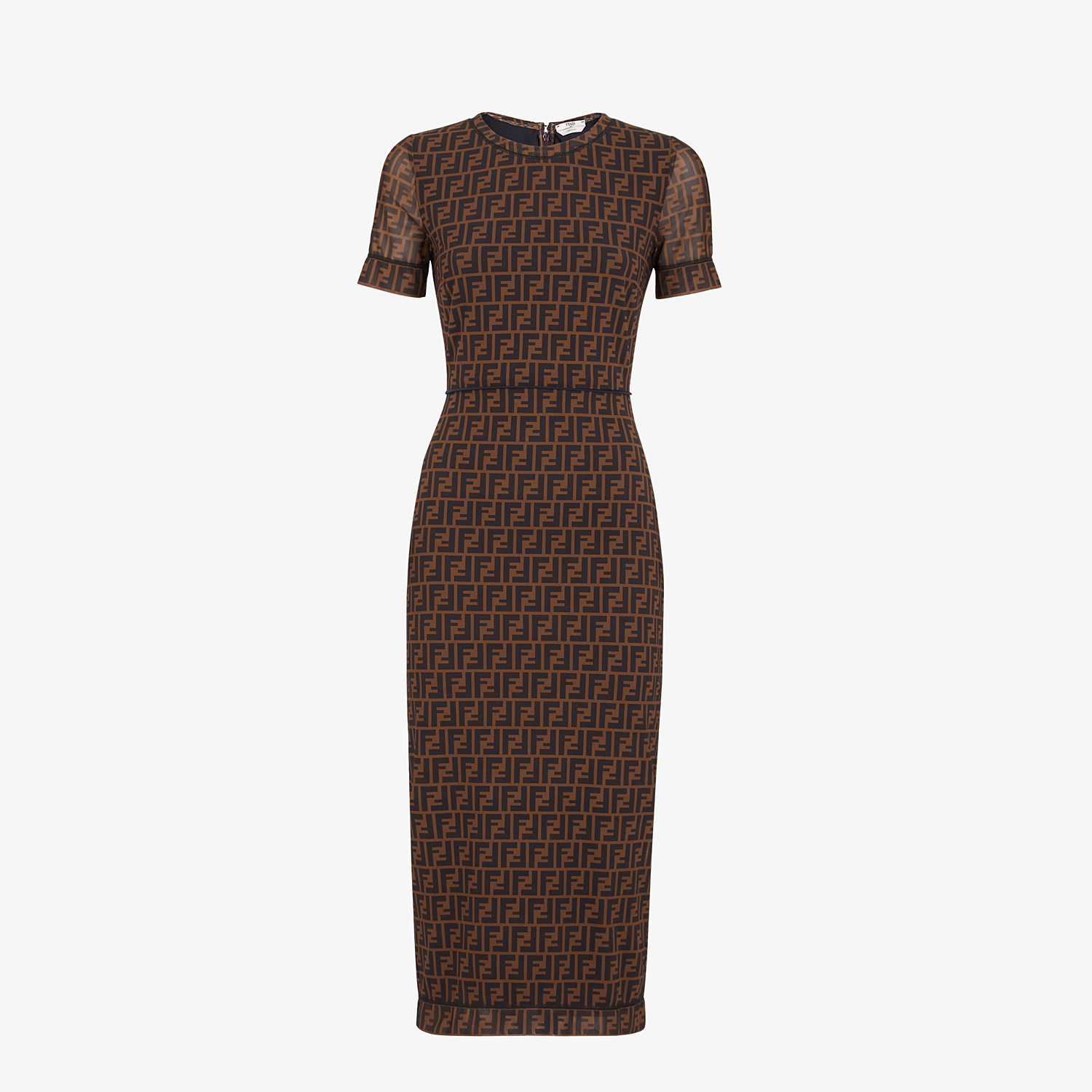 FENDI DRESS - Brown micro mesh dress - view 1 detail