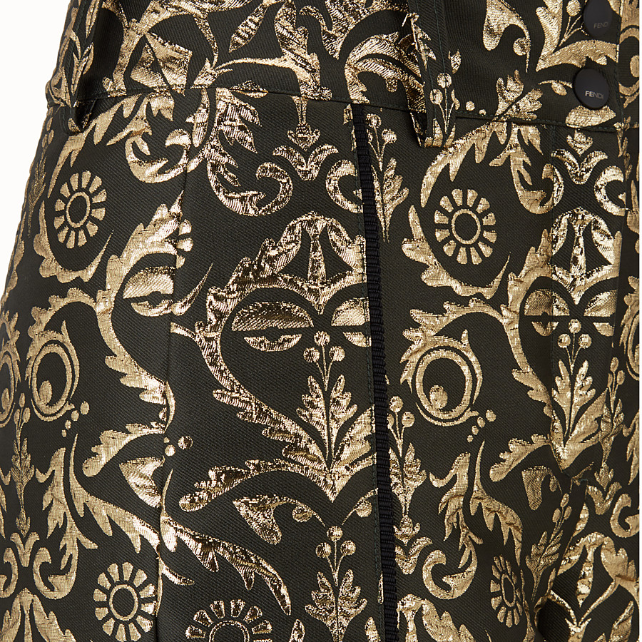 FENDI SKI TROUSERS - Padded trousers in gold brocade - view 3 detail