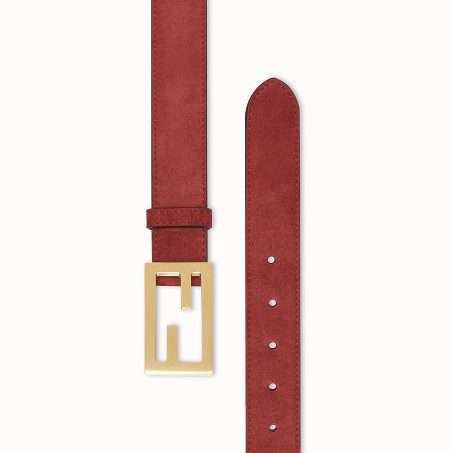 FENDI BAGUETTE BELT - Brown suede leather belt - view 2 detail