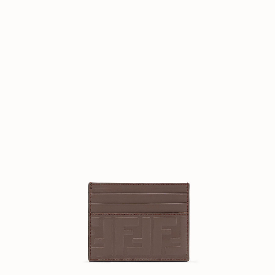 FENDI CARD HOLDER - Brown leather card holder - view 1 detail