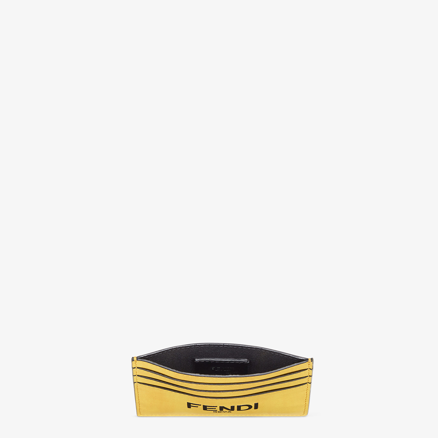 FENDI CARD HOLDER - Yellow leather card holder - view 3 detail