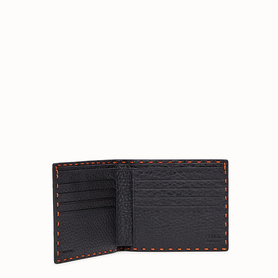 FENDI WALLET - Orange leather bi-fold wallet - view 3 detail