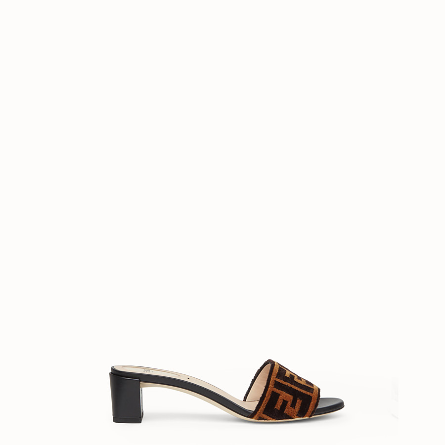 FENDI SLIDES - Multicolour leather and fabric sandals - view 1 detail