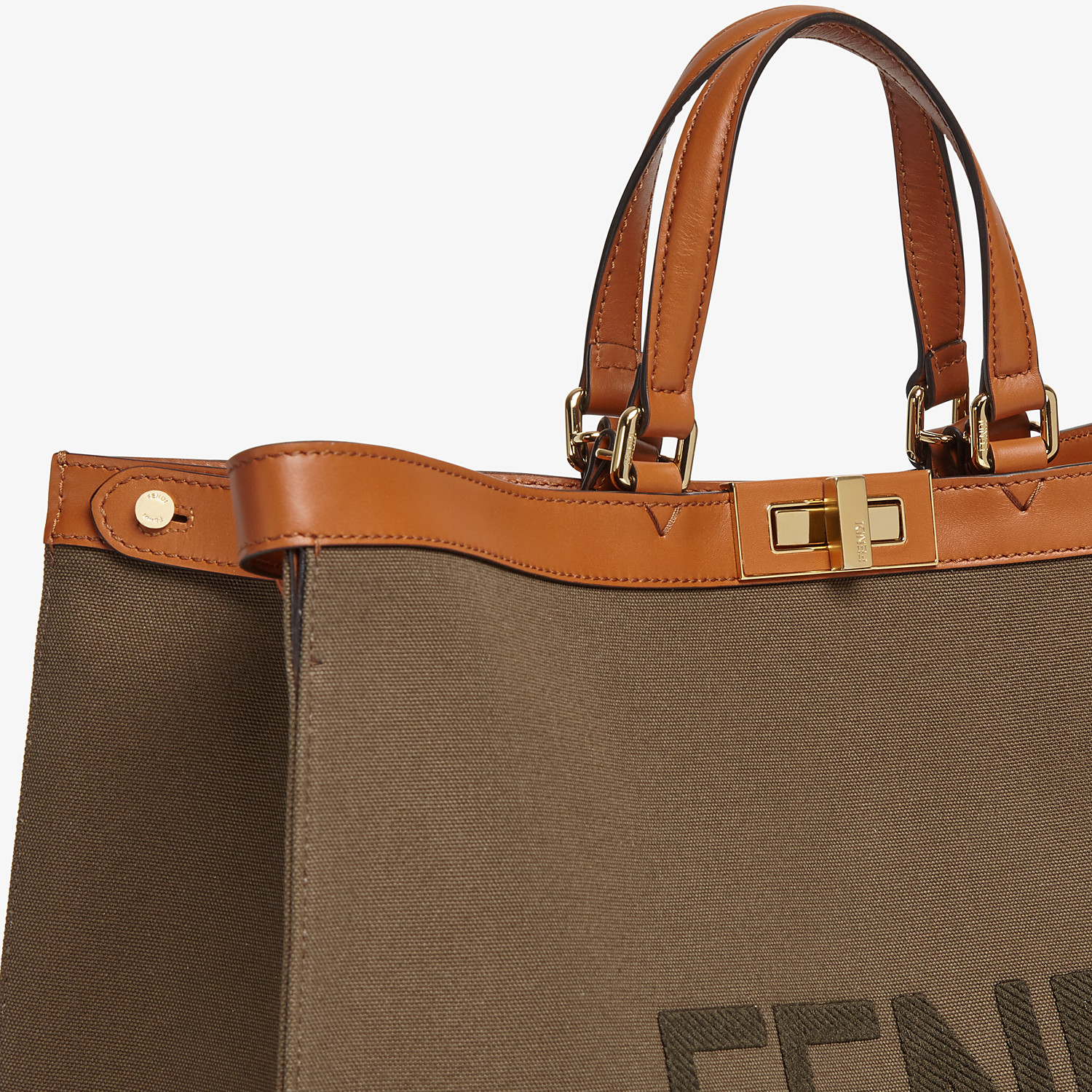 FENDI PEEKABOO X-TOTE LARGE - Green canvas shopper - view 5 detail
