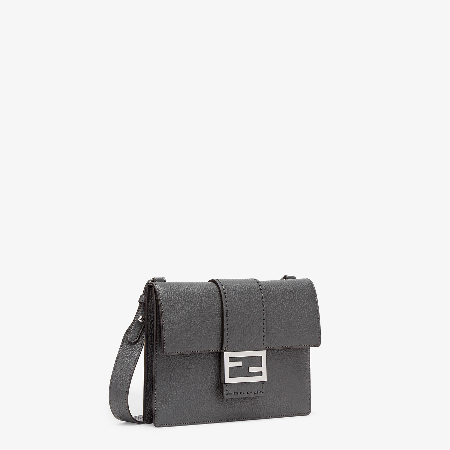 FENDI FLAT BAGUETTE - Gray leather bag - view 2 detail