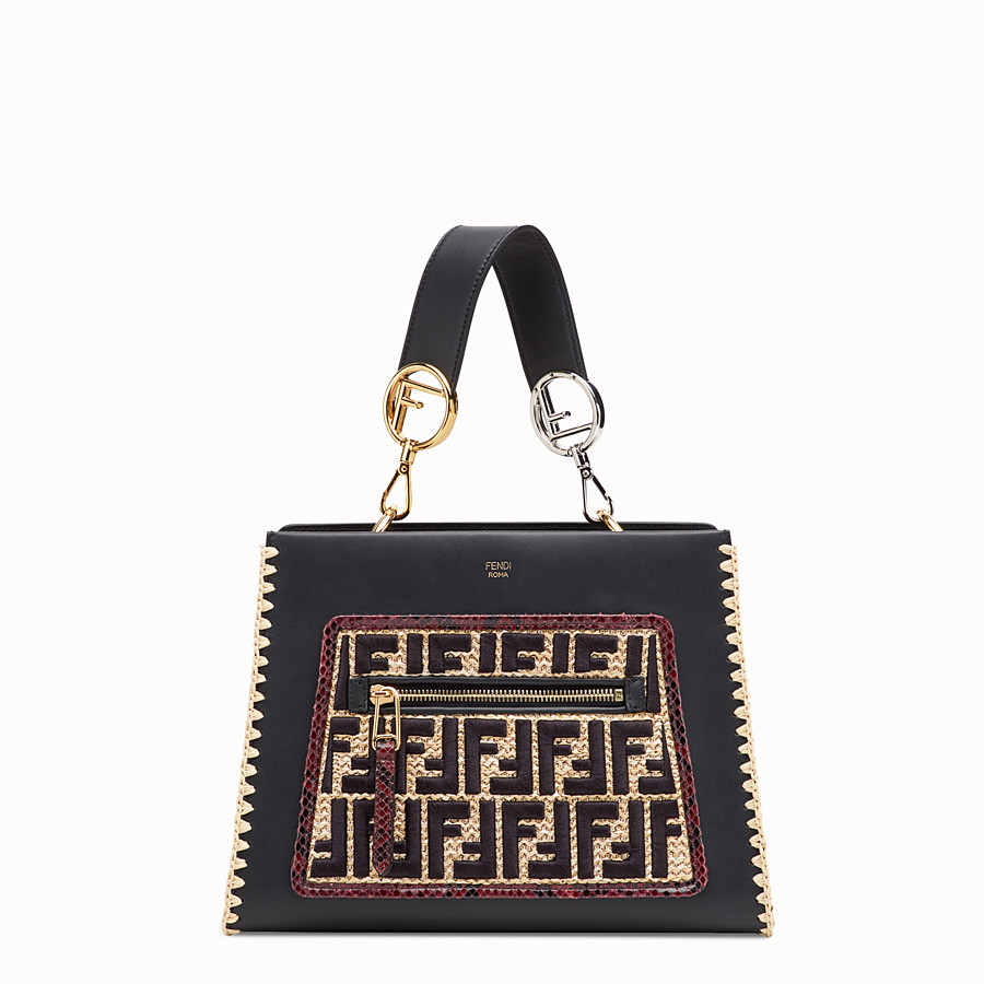 FENDI RUNAWAY SMALL - Black leather bag with exotic details - view 1 detail
