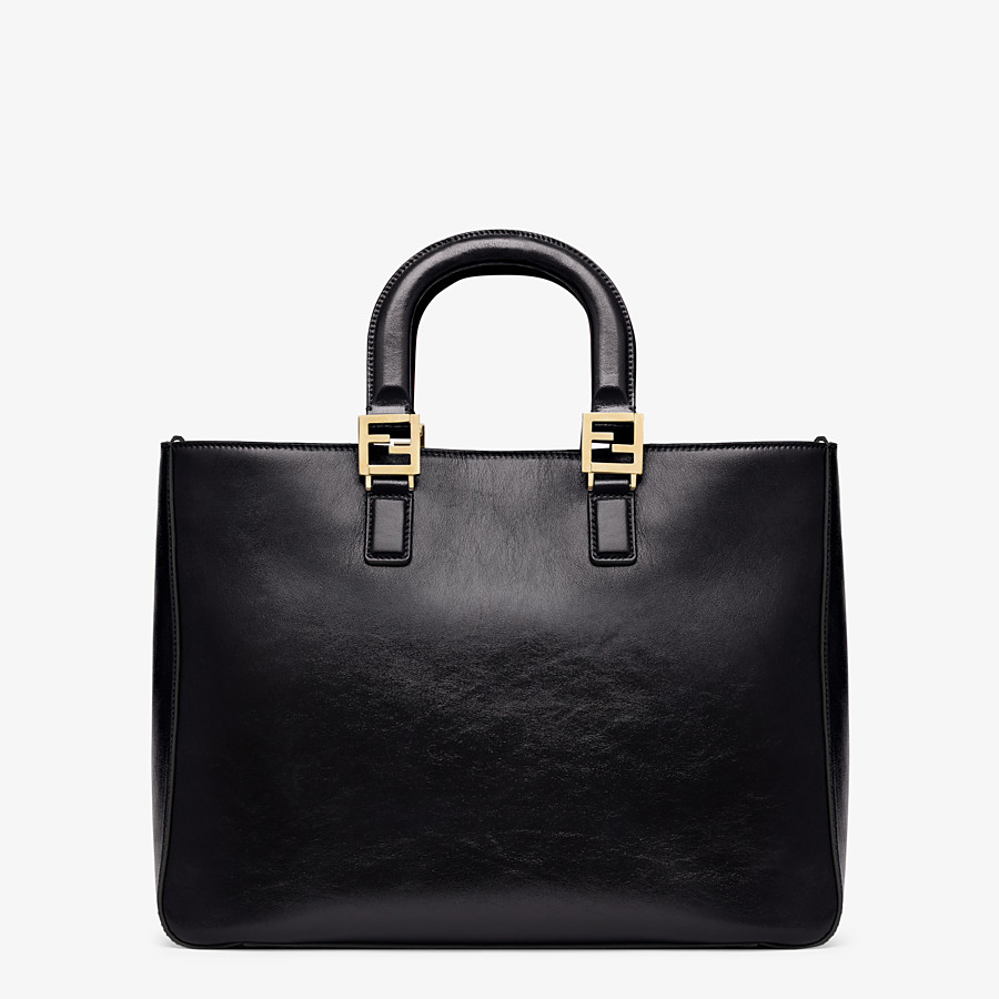 FENDI FF TOTE MEDIUM - Tasche aus Leder in Schwarz - view 4 detail