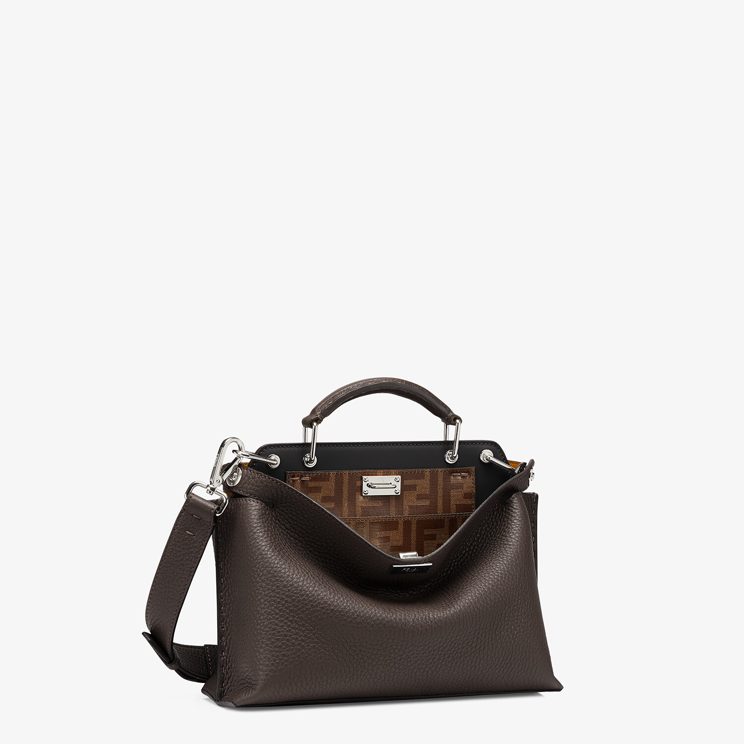 FENDI PEEKABOO ICONIC ESSENTIALLY - Tasche aus Leder in Braun - view 2 detail