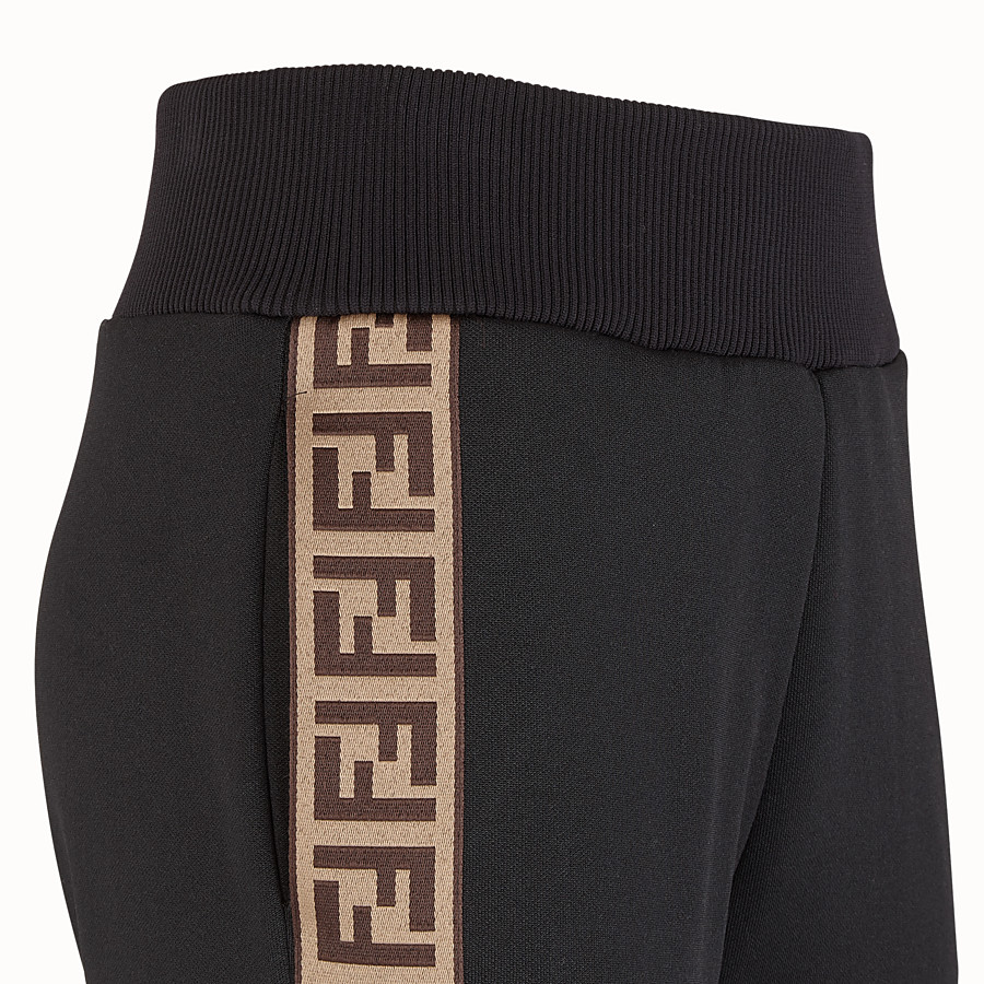 FENDI TROUSERS - Black jersey jogging trousers - view 3 detail