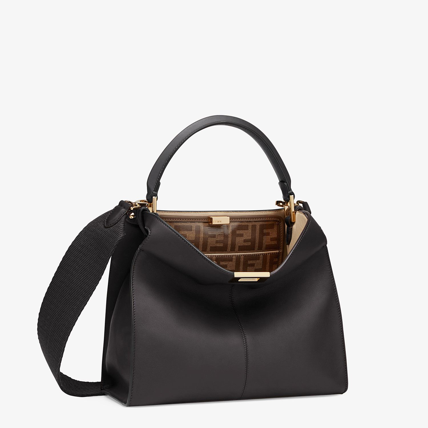 FENDI PEEKABOO X-LITE MEDIUM - Black leather bag - view 3 detail