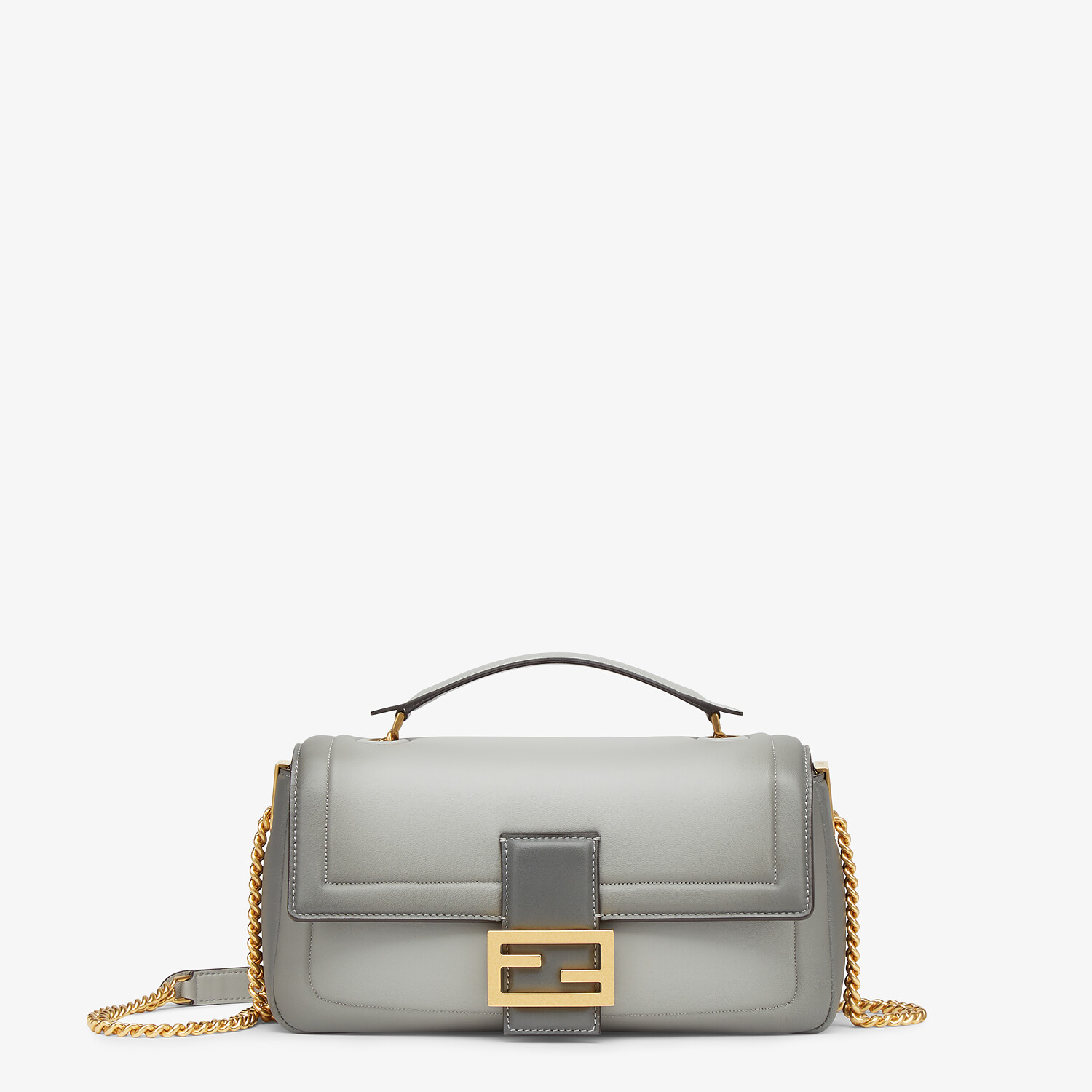 FENDI BAGUETTE CHAIN - gray nappa leather bag - view 1 detail