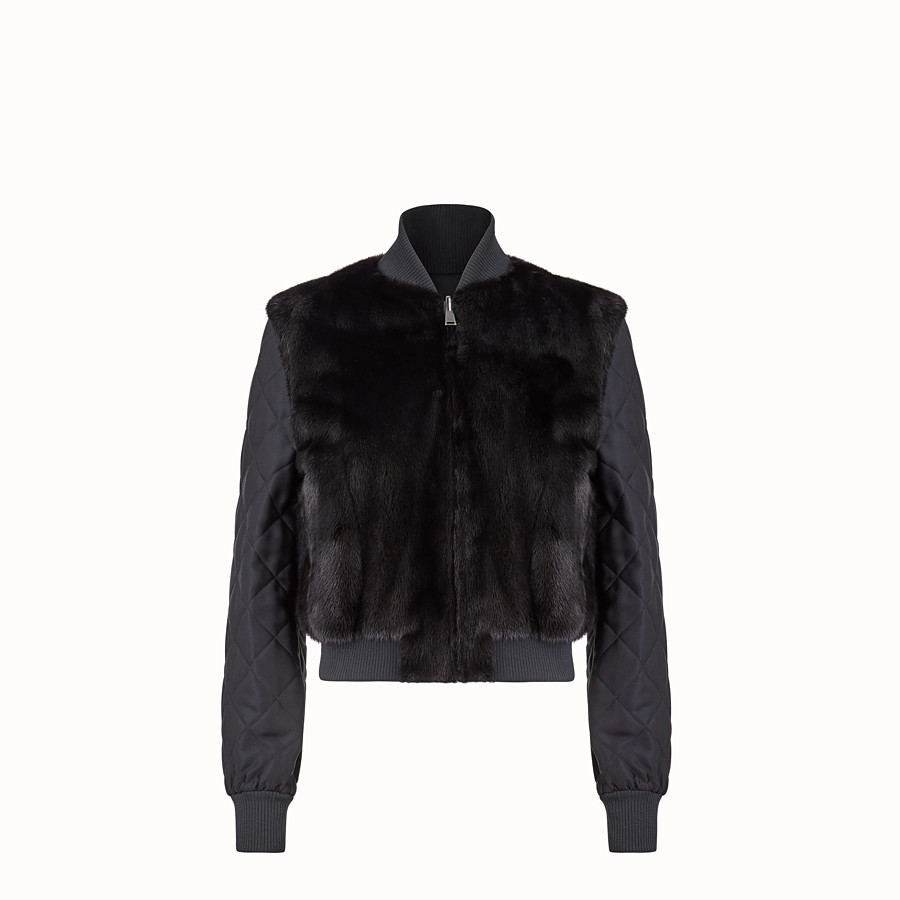 FENDI BOMBER - Black fabric and fur bomber jacket - view 1 detail