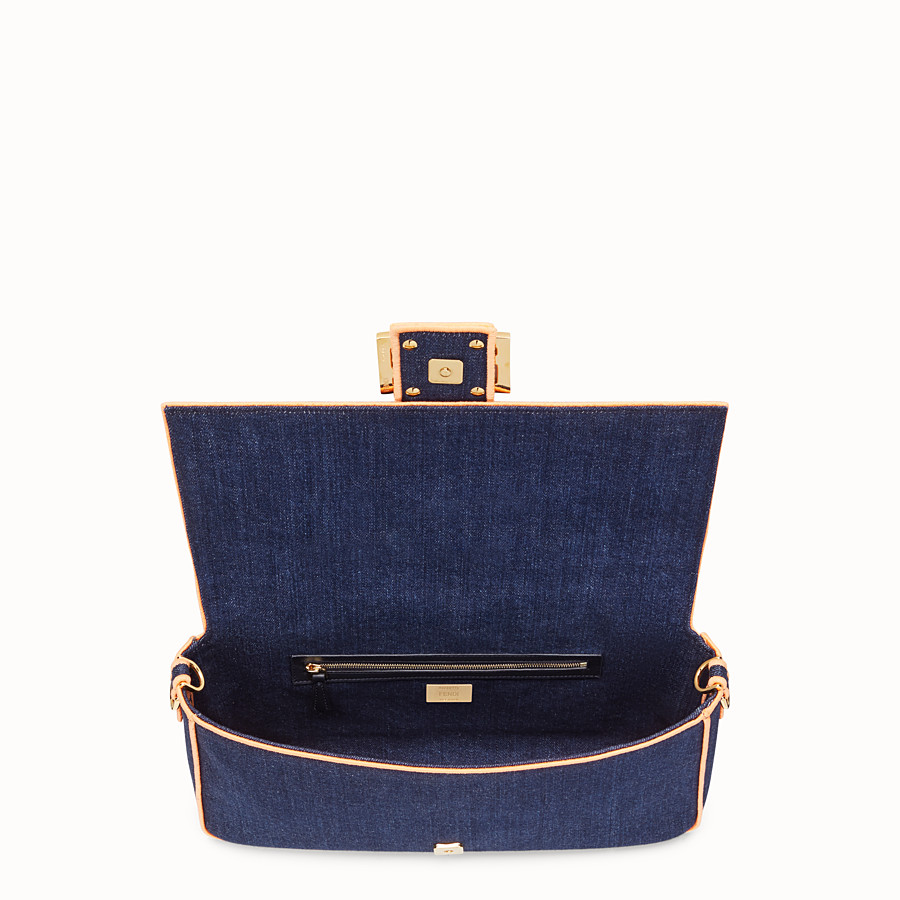 FENDI BAGUETTE LARGE - Blue denim bag - view 5 detail