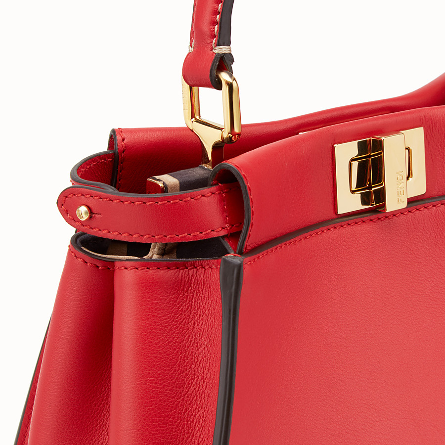 FENDI PEEKABOO ICONIC MINI - Red leather bag - view 6 detail