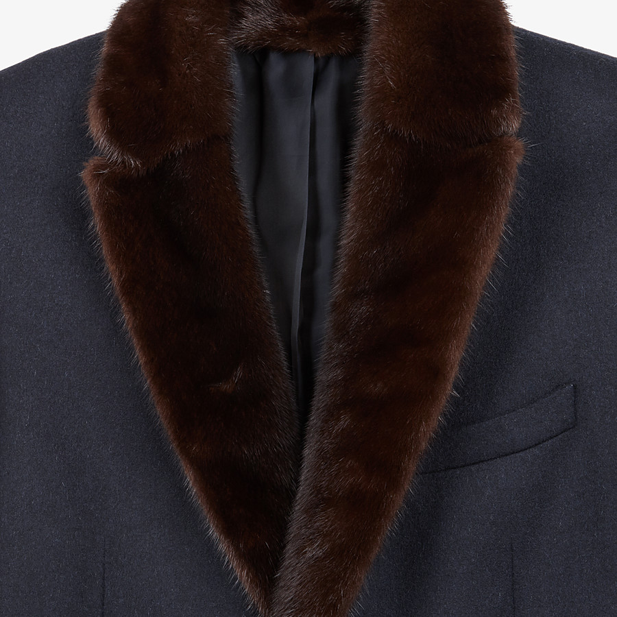 FENDI COAT - Blue wool and cashmere coat - view 3 detail
