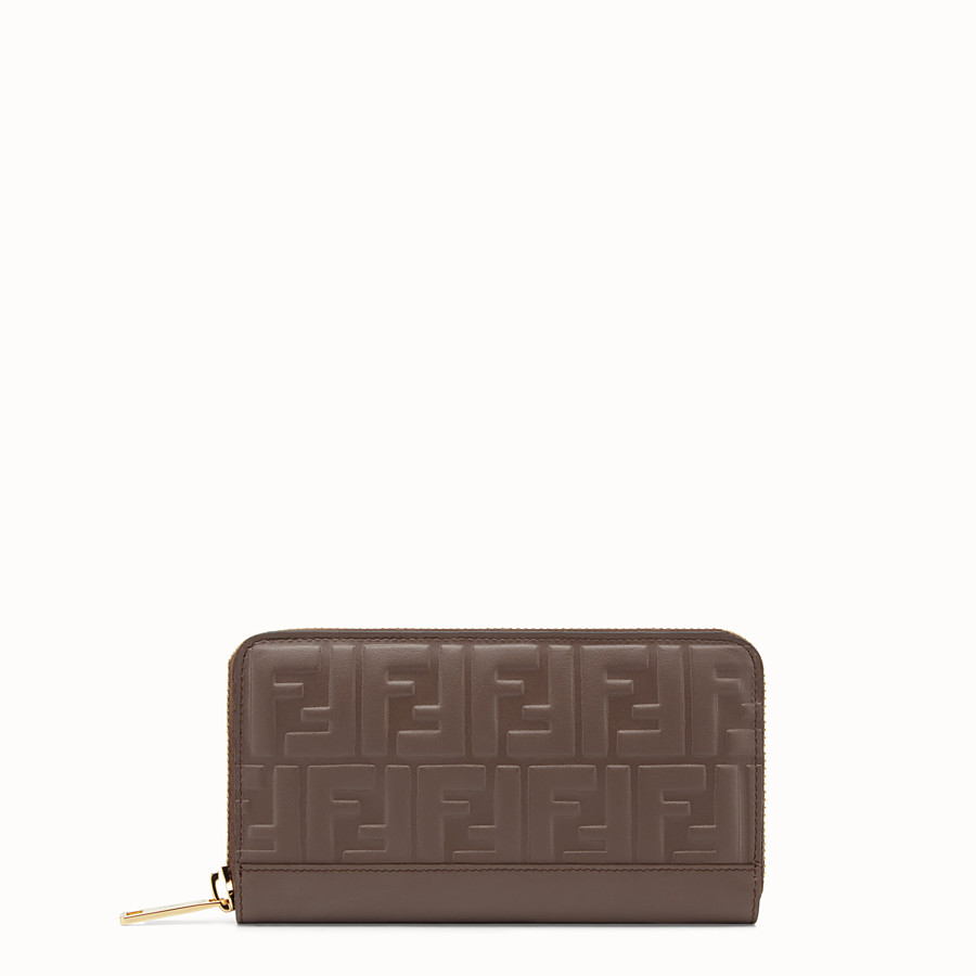 FENDI ZIP-AROUND - Brown leather wallet - view 1 detail