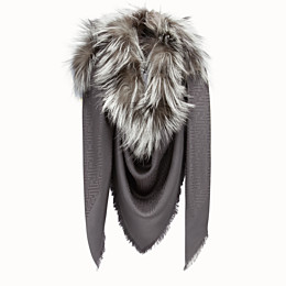 FENDI TOUCH OF FUR SHAWL - Grey silk and wool shawl - view 2 thumbnail