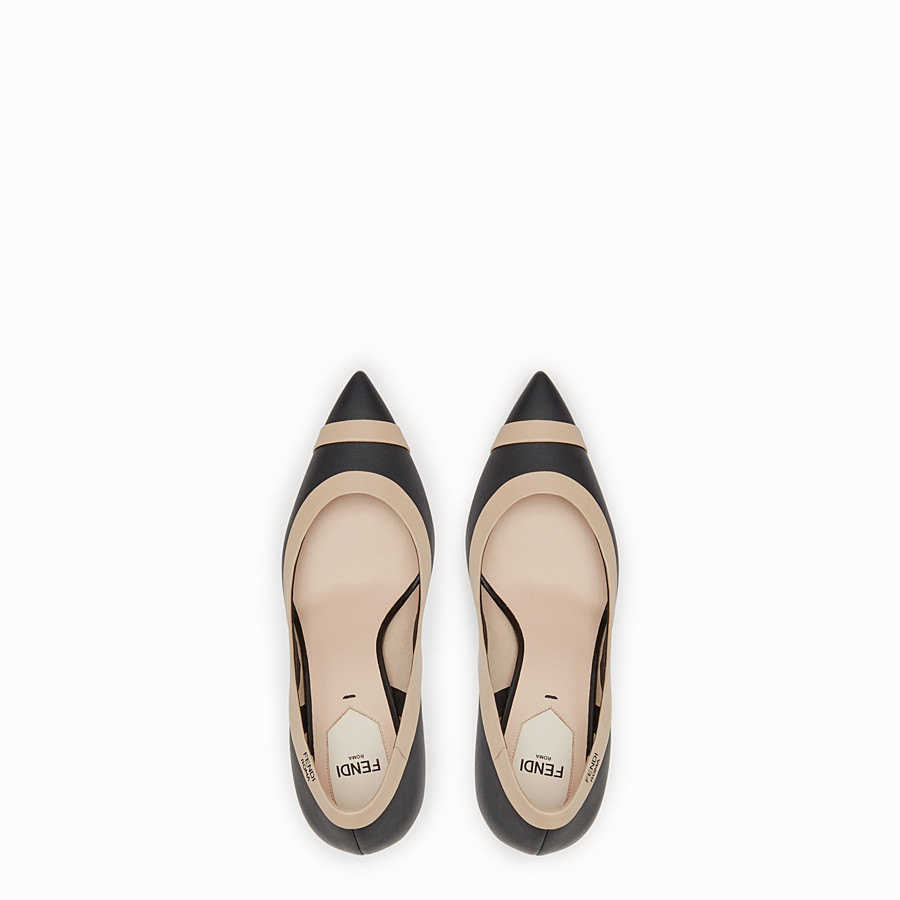 FENDI COURT SHOES - Black nappa leather court shoes - view 4 detail