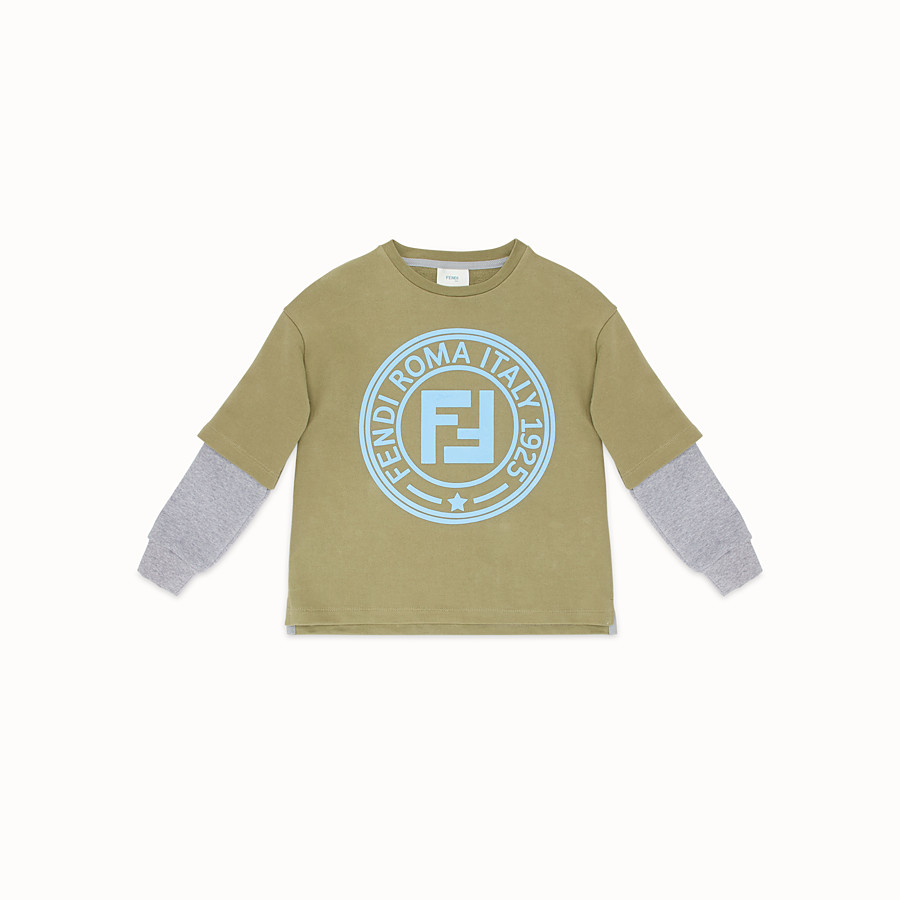 FENDI DOUBLE EFFECT SWEATSHIRT - Khaki cotton sweatshirt - view 1 detail