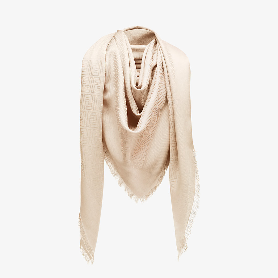 FENDI FF SHAWL - Pink silk and jacquard wool shawl - view 2 detail