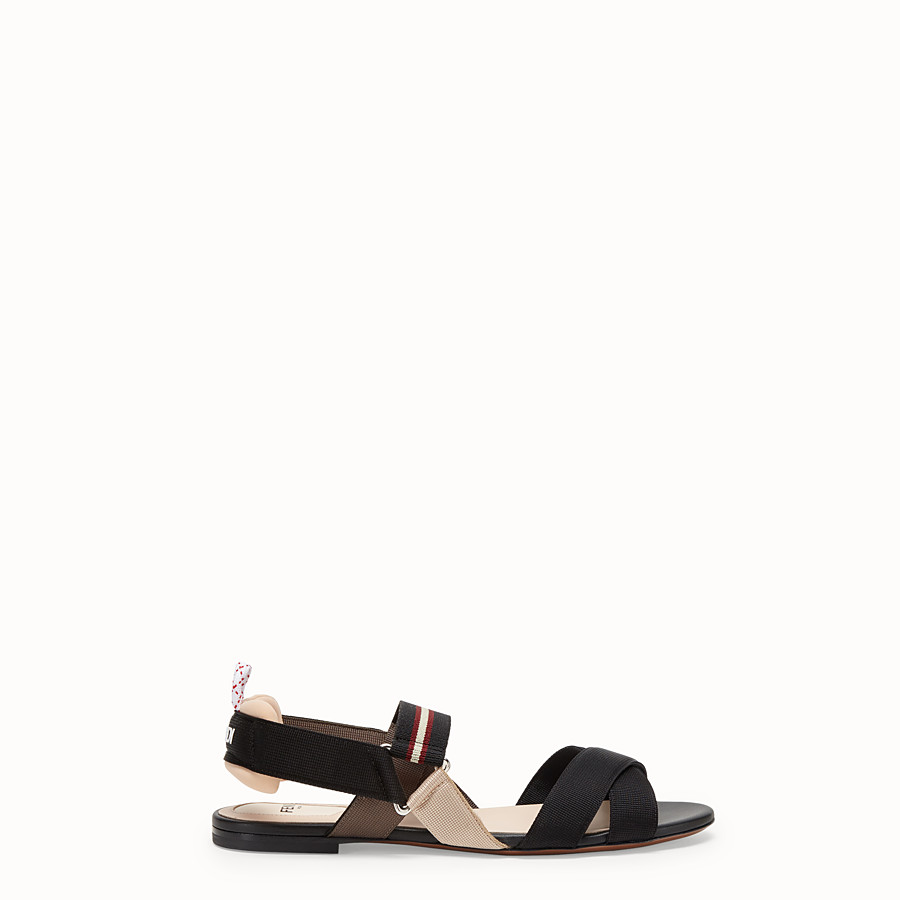 FENDI SANDALS - Beige tech fabric flats - view 1 detail