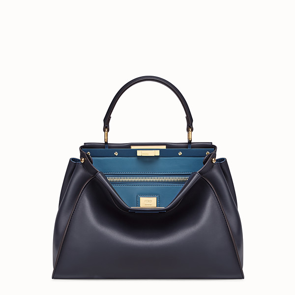 FENDI PEEKABOO REGULAR - Blue leather bag - view 1 small thumbnail