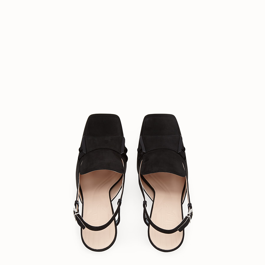 FENDI SLINGBACK - Black nubuck slingbacks - view 4 detail