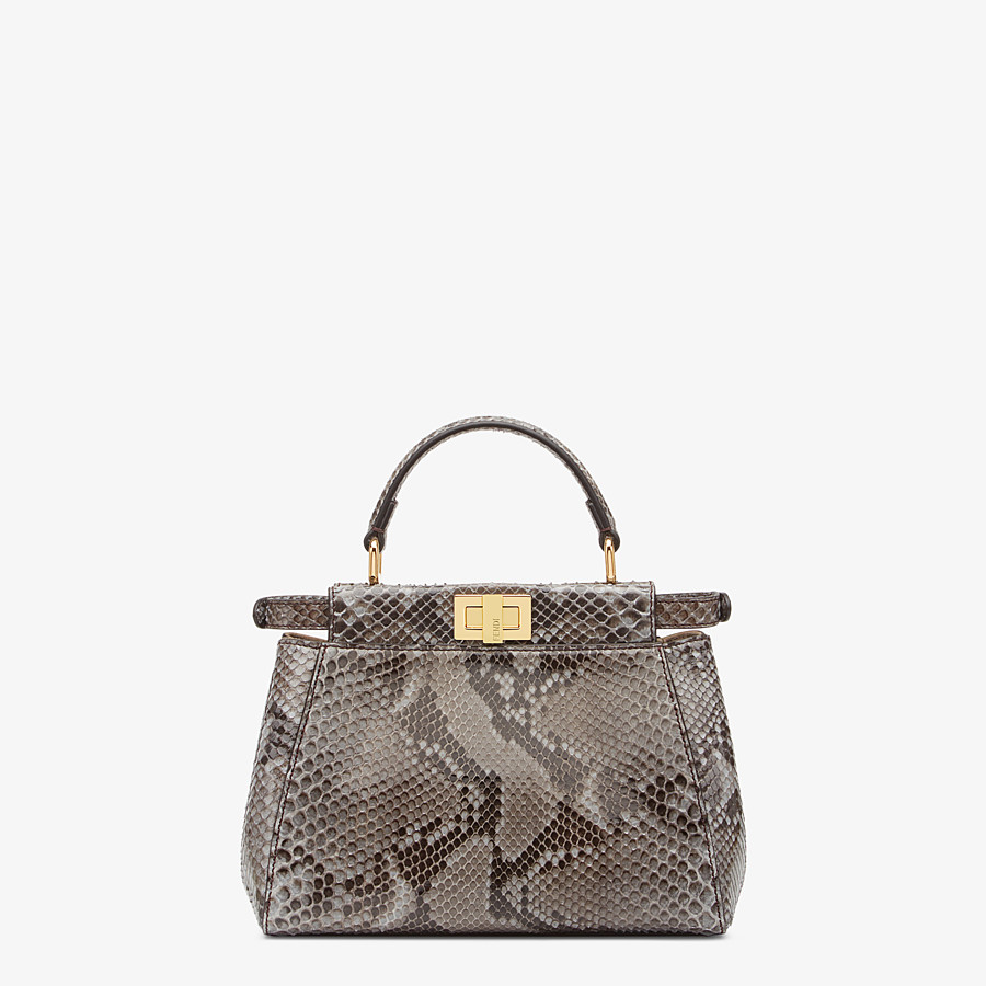 FENDI PEEKABOO ICONIC MINI - Gray python bag - view 3 detail
