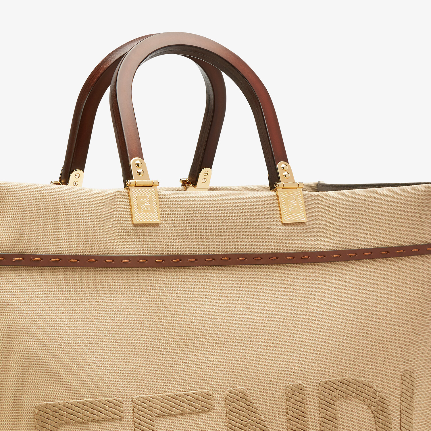 FENDI FENDI SUNSHINE MEDIUM - Beige canvas bag - view 6 detail