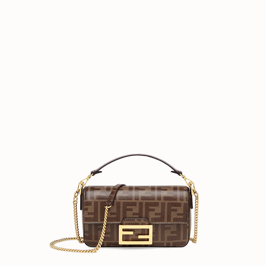 FENDI MINI BAGUETTE WITH CAGE - Multicolor leather and fabric bag - view 3 detail